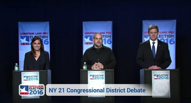 FINAL DEBATE: Rep. Elise Stefanik (R-Willsboro), Green Party candidate Matt Funiciello and Democratic candidate Mike Derrick debated for the third and final time at Plattsburgh's Mountain Lake PBS on Monday, Oct. 24.
