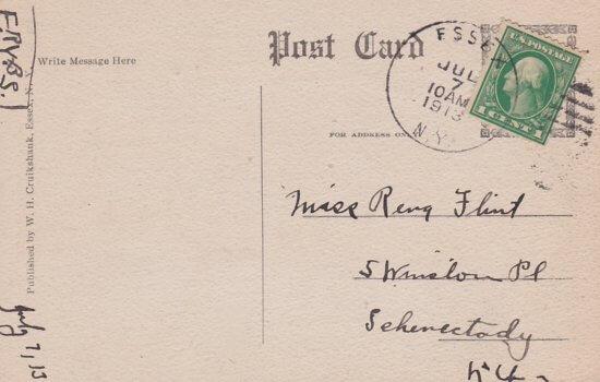 Vintage Postcard: Adirondack House, Essex, NY (back)