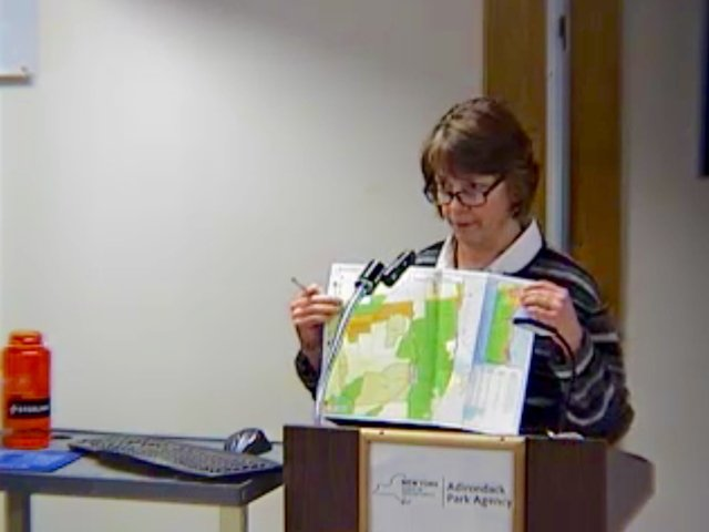 Adirondack Park Agency Deputy Director of Planning Kathy Regan is pictured at the APA hearing in Ray Brook on Thursday, Jan. 12. (Via Youtuve Screenshot via THE SUN)