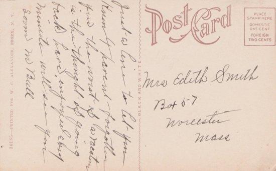 Vintage Postcard: Lake Street, Essex, NY - back side (Source: Rosslyn Redux)