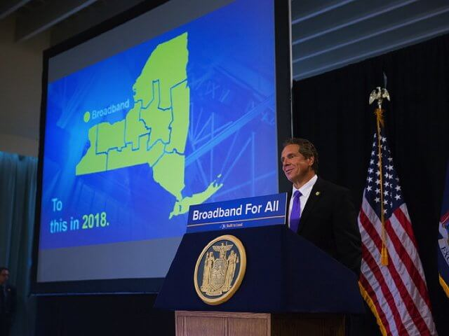 More than $31.5 million in grants have been awarded to North Country internet service providers in the latest round of broadband grants announced by the state last week. Nearly a dozen communities in Clinton and Essex counties will benefit from the New NY Broadband Initiative, which aims to fully wire the state with broadband by the end of 2018. Pictured above: Gov. Andrew Cuomo delivers comments in Potsdam on Aug. 3, 2016. (Photo provided via Office of the Governor of the State of New York)