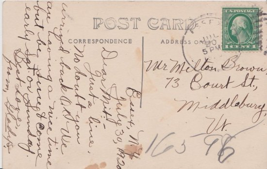 Vintage Postcard: South Main Street Essex, NY - back side
