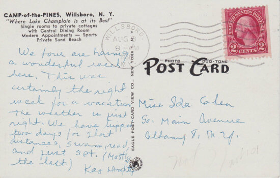 Vintage Postcard: Camp of the Pines, Willsboro, NY - back