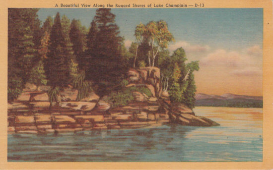 Vintage Postcard: A Beautiful View Along the Shores of Lake Champlain