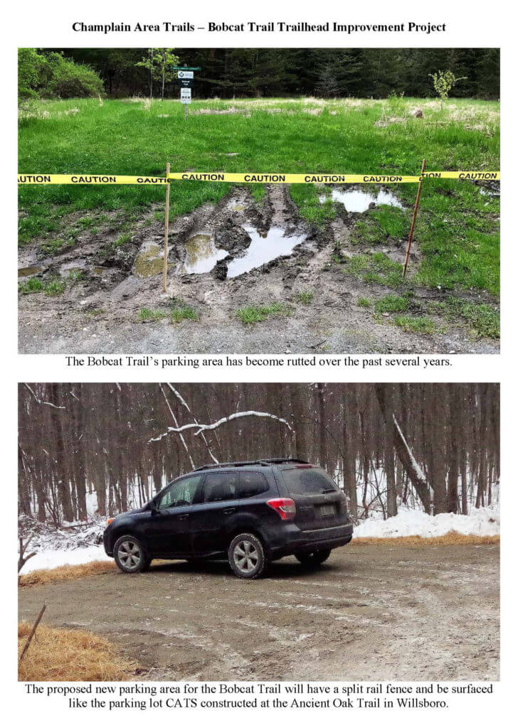 The before and hoped-for after on the Bobcat Trail Improvement Project.