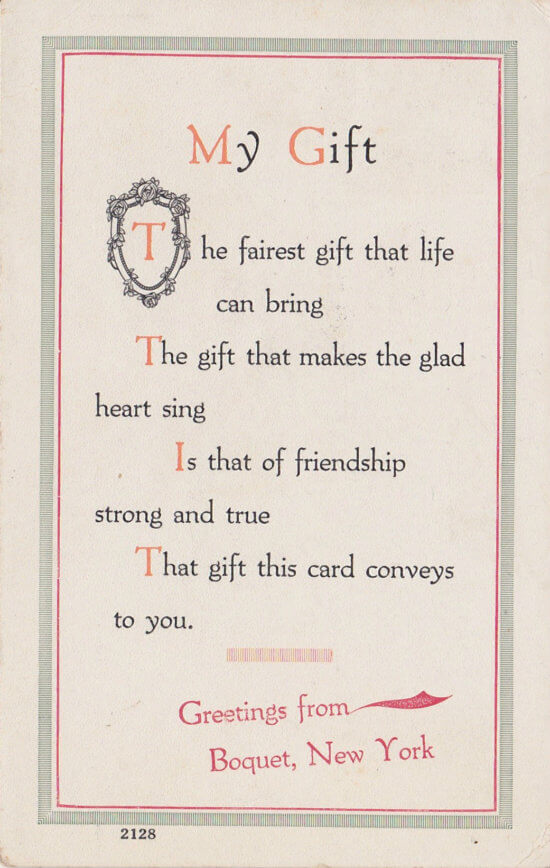 Vintage Postcard: Greeting Card from Boquet, NY