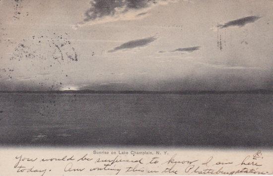 Vintage Postcard: Sunrise on Lake Champlain