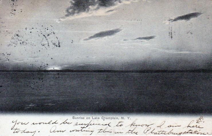 Vintage Postcard: Sunrise on Lake Champlain (edited)