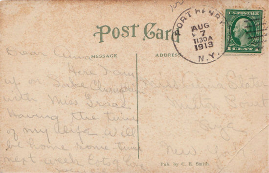 "Vintage Postcard: ""Ye Olde Stone Mill, Westport on Lake Champlain, N.Y."" (back)"