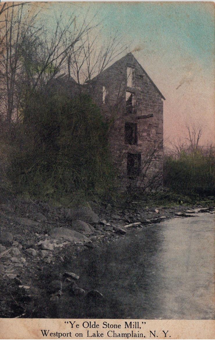 """Vintage Postcard: """"Ye Olde Stone Mill, Westport on Lake Champlain, N.Y."""""""