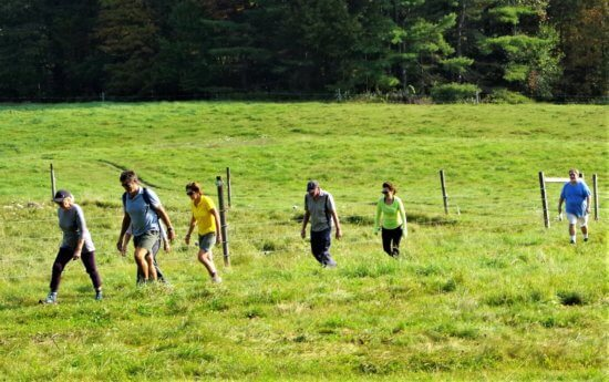 Hikers on the DaCy Meadow Farm Trail crossed green pastures, through deep woods, with a view of Lake Champlain. (Credit: CATS)