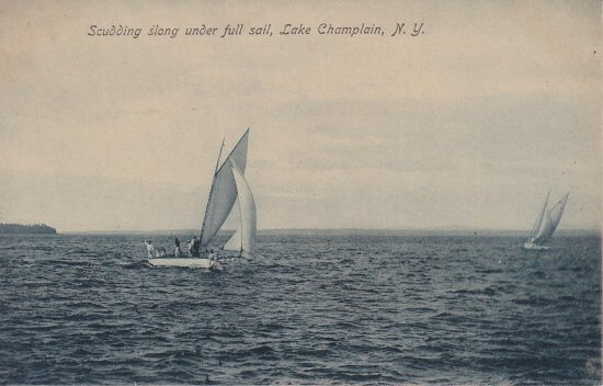 Vintage Postcard: Scudding Slong under full sail, Lake Champlain, NY