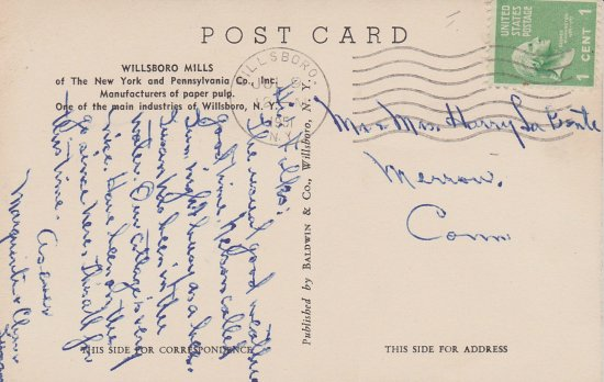 Vintage Postcard: Willsboro Paper Mill - back side