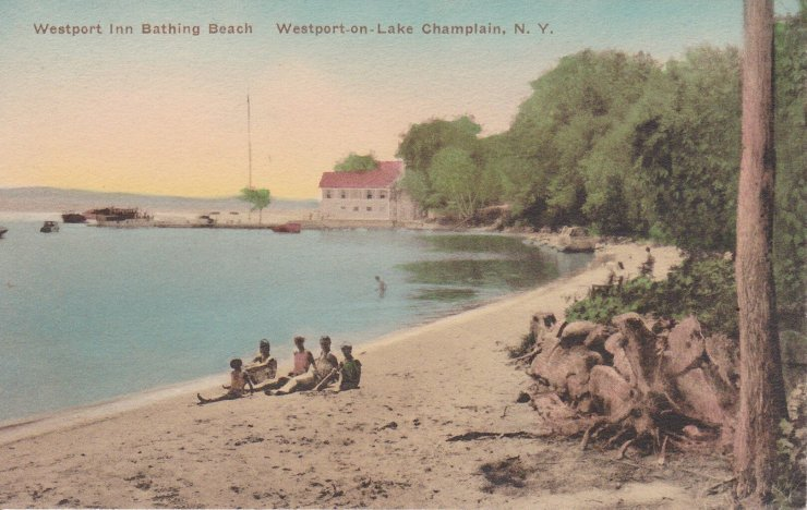 Vintage Postcard: Westport Inn Bathing Beach, Westport on Lake Champlain