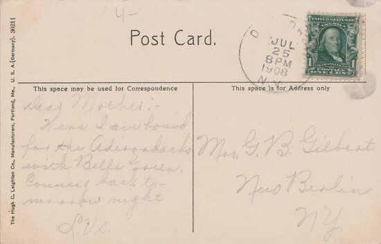 Vintage Postcard: Fire on Whiteface Mountain (back side)