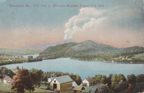 Vintage Postcard: Fire on Whiteface Mountain