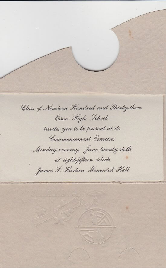 1933 Essex High School Commencement Invitation (interior page 1)