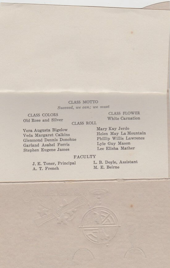 1933 Essex High School Commencement Invitation (interior page 2)