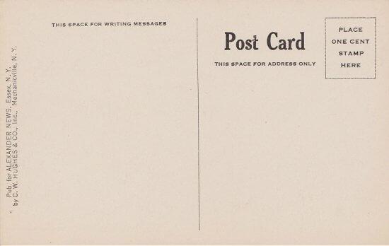 Vintage Postcard: North Road Leaving Essex (back side)