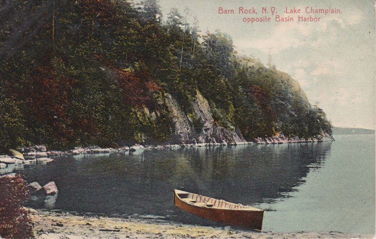 Vintage Postcard: Barn Rock, NY, Lake Champlain, opposite Basin Harbor