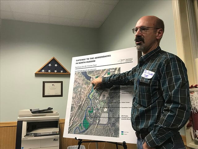 Tom Miller of the Department of Environmental Conservation previewed plans for a state-run campground, equestrian area and day use facility in North Hudson on Monday, Dec. 11. (Photo by Pete DeMola)