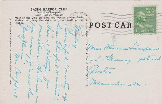 Vintage Postcard: Basin Harbor Club, VT (back)