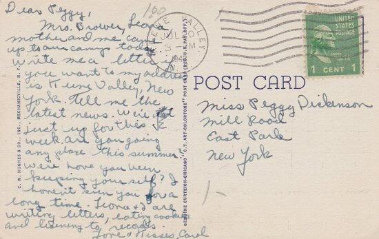 Vintage Postcard: Hurricane Mountain (back side)