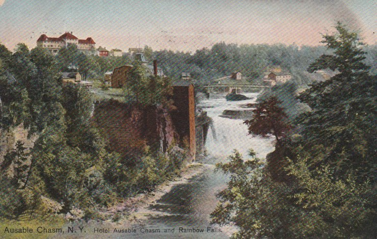 Vintage Postcard: Hotel Ausable Chasm & Rainbow Falls