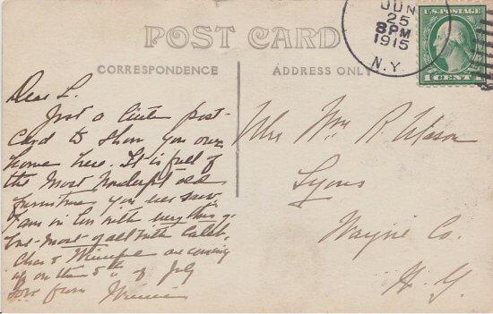 Vintage Postcard: The Goatsworth Residence (back)