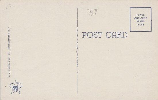 Vintage Postcard: Ausable Lake Club - back