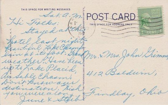Vintage Postcard: Westport Inn (back)