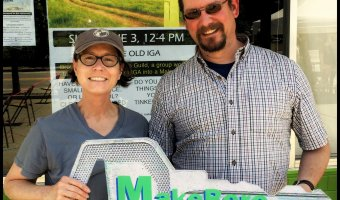 Beverly Eichenlaub and Christopher Jage at MakeBoro (aka Makers Guild Inc.) in Willsboro, NY on June 3, 2018 (Source: Geo Davis)