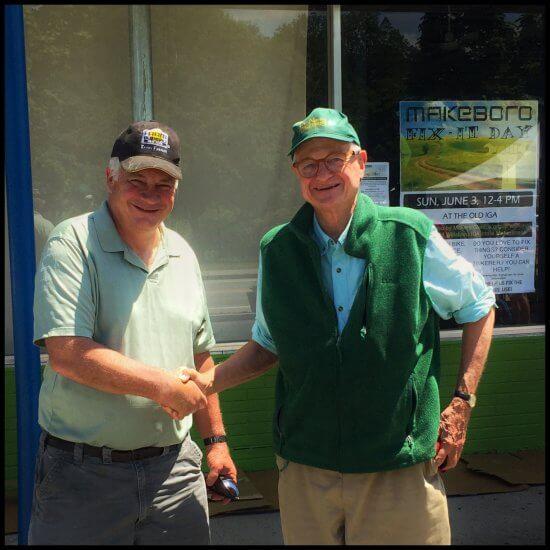 Willsboro Town Supervisor Shaun Gillilland and Peter Paine at MakeBoro (aka Makers Guild Inc.) in Willsboro, NY on June 3, 2018 (Source: Geo Davis)