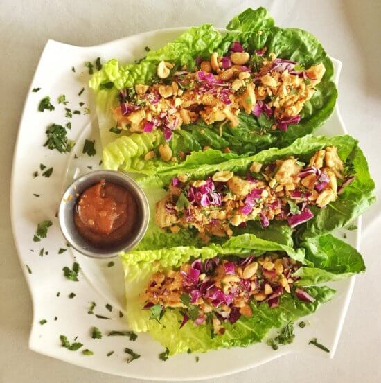 Chez Lin & Rays: Thai peanut lettuce cups with crispy romaine, chicken, peanut sauce, cilantro (Source: Geo Davis)