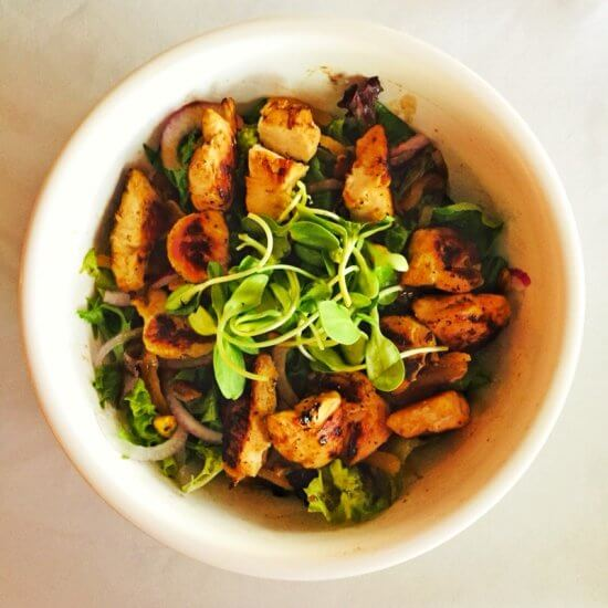 Chez Lin & Rays: grilled chicken and pistachio salad with mixed greens, dried apricots, red onion, maple vinaigrette (Source: Geo Davis)