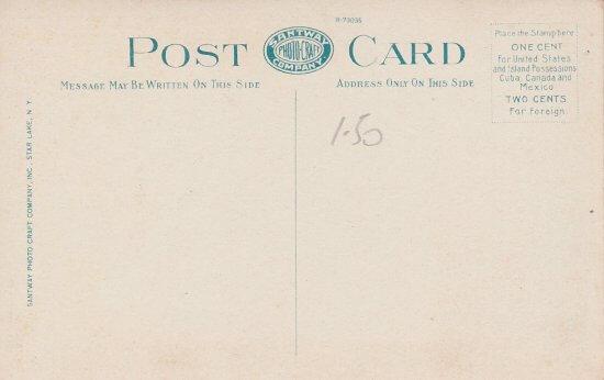 Vintage postcard: Saranac River and Whiteface Mt. (back side)
