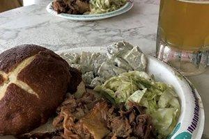 Pork sandwich at the Essex Inn (Credit: SALLY POLLAK)