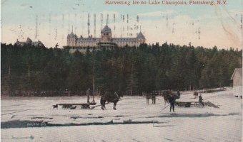 Vintage Postcard: Harvesting Ice on Lake Champlain, Plattsburg, NY