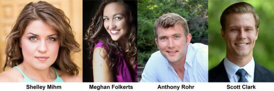 Seagle Music Colony will present HEY BIG SPENDER at the Depot Theatre Aug. 30-Sept.1, 2018. Performers: (L-R) Shelley Mihm, soprano; Meghan Folkerts, mezzo-soprano; Anthony Rohr, tenor; Scott Clark, baritone.