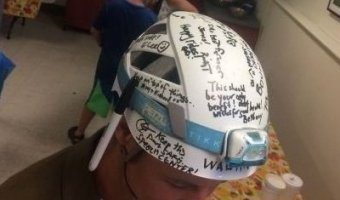 James in signed helmet gifted to him by friends. (Credit: Tom Duca)