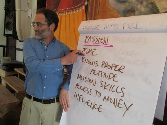 Adirondack Foundation is offering a seminar in Tupper Lake for local nonprofits on fundraising and financial management with Andy Robinson, who is pictured here leading a training in 2014 at the Whallonsburg Grange Hall. (Credit: Adirondack Foundation)