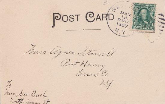 Vintage Postcard: Glenwood Inn in Westport, NY (back side)