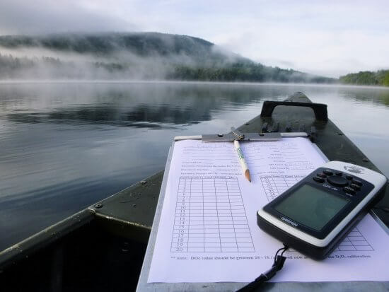 Preparing to collect water quality data from Fawn Lake (Photo by  Hamilton County Soil and Water Conservation District)