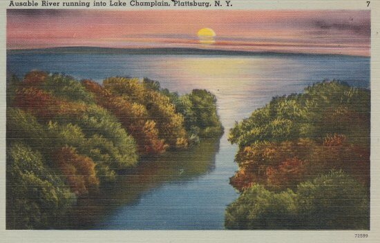 Vintage Postcard: Ausable River Running into Lake Champlain, Plattsburgh, NY
