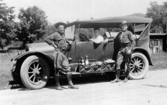 The Adirondack History Museum opens for its 2019 Season on May 25. The new exhibit, Bootleggers and the Law in the Adirondacks, explores how the region was part of major bootlegging routes between Canada and New York City. Pictured are Essex County Sheriff's Deputies with confiscated bootlegging car. (Photograph provided by the Adirondack History Museum)