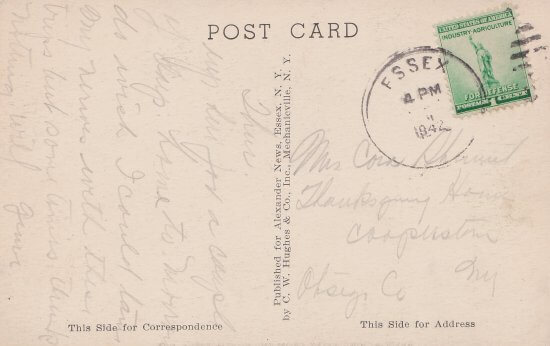 Vintage Postcard: Approaching Essex from North (back)