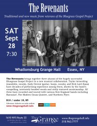 Bluegrass/Americana Band The Revenants to Perform at Whallonsburg Grange Sept. 28