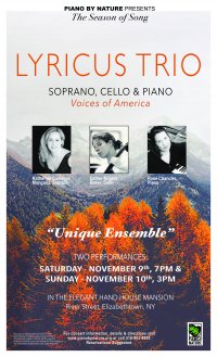 Piano By Nature Lyricus Trio Presents Voices of America on Nov. 9 & 10