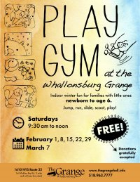 Winter Play Gym for Kids Returns to the Whallonsburg Grange on Feb. 1