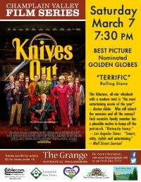 Champlain Valley Film Series Presents KNIVES OUT on March 7